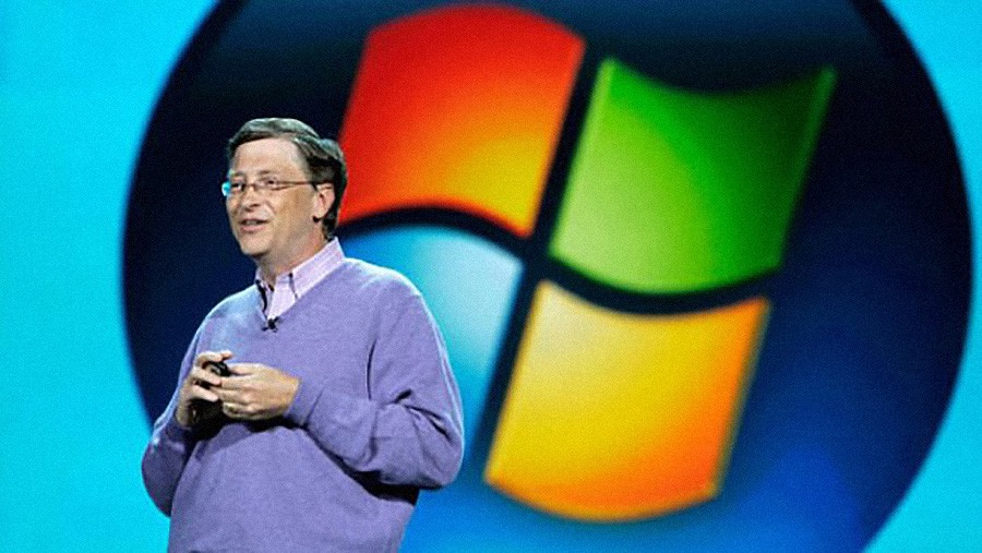 Bill Gates introducing a new version of Windows
