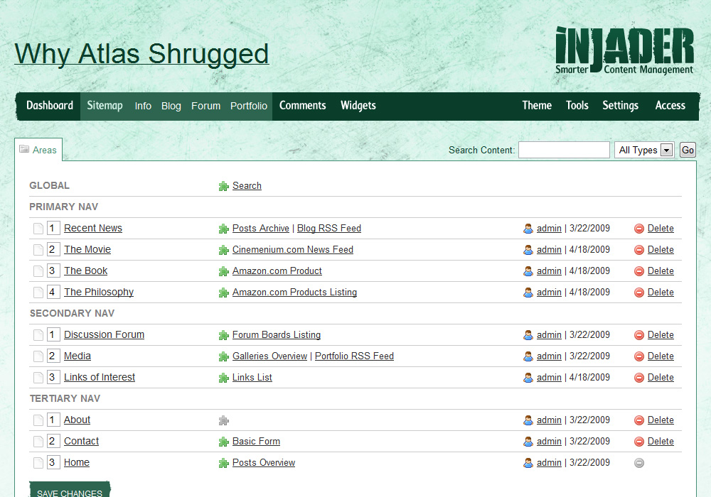 Injader screenshot - Sitemap